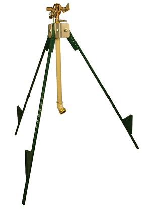 "QVS 008203 2'-4' Steel Tri-pod Sprinkler Stand / Folding Legs / 1/2"" Brass Adj. F/P Circle Impact Sprinkler / 2' or 4' with Ext."