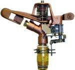 "QVS 139044 3/4"" Adjustable Part or Full Circle Brass Impact Sprinkler / 5/32"" Brass Single Nozzle / 25 Degree"