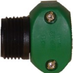 "ECONOMY SERIES - QVS Green Male Plastic Hose Mender 3/4""MHT x 3/4""-5/8"" H-Barb / Repairs 5/8"" and 3/4"" Hoses"