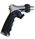QVS 006063 PRO SERIES - Push-Button Brass Tip Nozzle w/ Flow Control / Metal Body / Molded Rubber Grip / Chrome and Black
