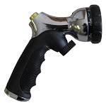 QVS 006087 9-Pattern Push-Button Brass Tip Nozzle w/ Flow Control / Metal Body / Molded Rubber Grip / Chrome and Black